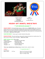 Holiday Baskets Menu
